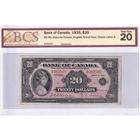 BC-9b Canada $20 1935 O-T, English Small Seal, Check Letter A BCS Certified VF-20