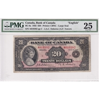BC-9a 1935 Canada $20 Osborne-Towers, English, Large Seal PMG Certified VF-25
