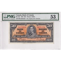 BC-26c Canada $50 1937 Coyne-Towers, B/H PMG Certified AU-53