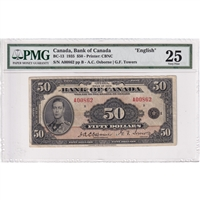BC-13 Canada $50 1935 Osborne-Towers, English PMG Certified VF-25