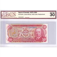 BC-51aA-i Canada $50 1975 Lawson-Bouey, Three Letter, Replacement, EHX BCS Cert.VF-30