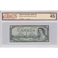 BC-29a Canada $1 1954 Coyne-Towers, Devil's Face, B/A BCS Certified EF-45