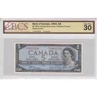 BC-39bA Canada $5 1954 Beattie-Rasminsky, Replacement, *I/X BCS Certified VF-30