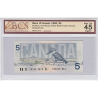 BC-56aA 1986 Canada $5 Crow-Bouey, Replacement, Yellow Back Position Number BCS EF-45
