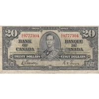 BC-25b 1937 Canada $20 Gordon-Towers, D/E, VG-F