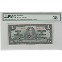 BC-21a 1937 Canada $1 Osborne-Towers, S/N, PMG Certified Choice EF-45