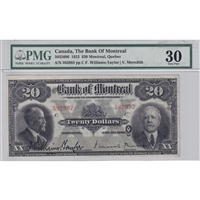 505-56-06 1923 Bank of Montreal $20, T-M, PMG Cert. VF-30