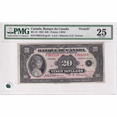 BC-10 1935 Canada $20 O-T, French, F001519, PMG Certified VF-25