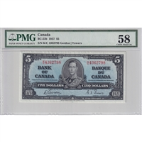 BC-23b 1937 Canada $5 Gordon-Towers, K/C, PMG Certified Choice AU-58