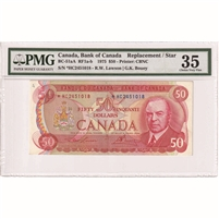BC-51aA 1975 Canada $50 Lawson-Bouey, *HC, PMG Certified Choice VF-35 (Annotation)