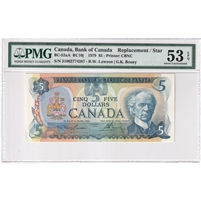 BC-53aA 1979 Canada $5 Lawson-Bouey, Replacement/Star, PMG Certified AU-53, EPQ