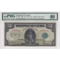 DC-26d 1923 Dominion $2, M-S, Green Seal, Group 1, Series G-H, PMG Cert EF-40