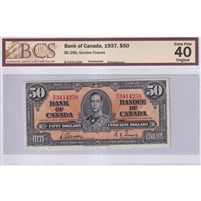 BC-26b 1937 Canada $50 Gordon-Towers, Changeover, B/H, BCS Certified EF-40 Original