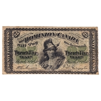 DC-1b 1870 Dominion 25 cent Shinplaster Dickinson-Harrington, Large B, VF
