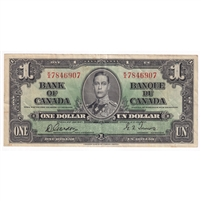 BC-21c 1937 Canada $1 Gordon-Towers, K/A, VF-EF