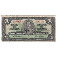BC-21c 1937 Canada $1 Gordon-Towers, G/M, VG-F