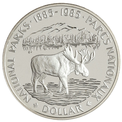 1985 Canada's National Parks Proof .50 Silver Dollar