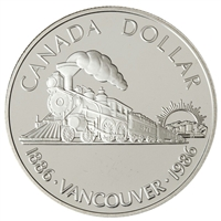 1986 Canada First Trans-Canada Train Centennial Proof .50 Silver Dollar