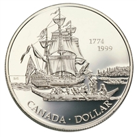 1999 Canada Voyage of Juan Perez Proof Sterling Silver Dollar
