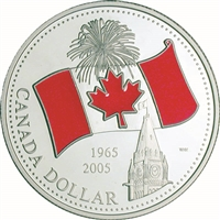 2005 Canada Ltd. Ed. Red Enamel National Flag Proof Silver Dollar (No Tax)