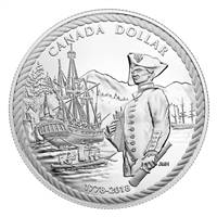 2018 Canada 240th Anniversary Captain Cook at Nootka Sound Proof Silver Dollar (No Tax)