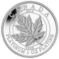 2014 Canada $300 Maple Leaf Forever Platinum (No Tax) sleeve bent on corner