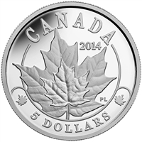2014 Canada $5 Platinum Coin Overlaid Majestic Maple Leaves (No Tax)