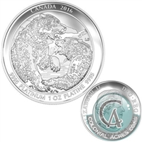 2016 Canada $300 Grizzly Bear - The Struggle Platinum Coin (No Tax)