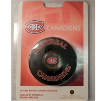2008 Canada Montreal Canadiens NHL $1 Coin Puck Set - Scuffed