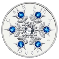 RDC 2008 Canada $20 Sapphire Crystal Snowflake Fine Silver (No Tax) toned