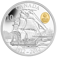 RDC 2012 Canada $10 War of 1812 - HMS Shannon Fine Silver (No Tax) damaged sleeve