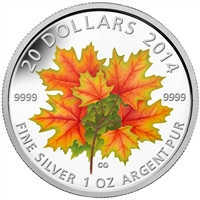 RDC 2014 Canada $20 Glow-in-the-Dark Maple Leaves Fine Silver (No Tax) Impaired