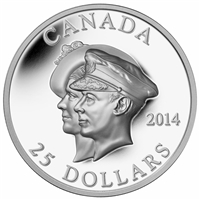 RDC 2014 Canada $25 75th Ann. First Royal Visit Ultra High Relief (No Tax) Impaired