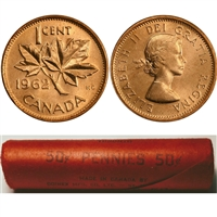 1962 Canada 1-Cent Original Roll of 50 pcs