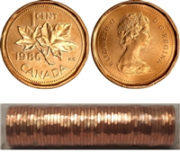 1986 Canada 1-cent Original Roll of 50pcs