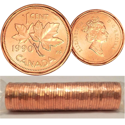 1990 Canada 1-cent Original Roll of 50pcs