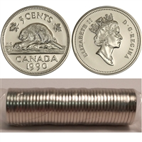 1990 Canada 5-cents Original Roll of 40 pcs