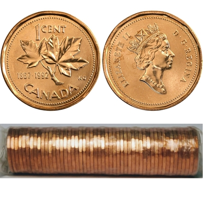 1992 Canada 1-cent Original Roll fo 50 pcs