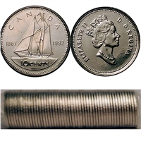 1992 Canada 10-Cents Original Roll of 50 pcs