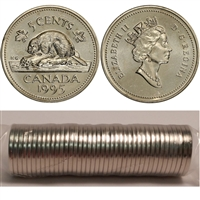1995 Canada 5-cent Original Roll of 40pcs