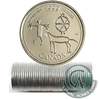 1999 February Canada 25-cent Original Roll of 40 pcs.