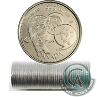 1999 January Canada 25-cent Original Roll of 40 pcs.