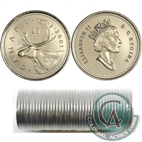 2001 No P Canada 25-cent Original Roll of 40pcs.