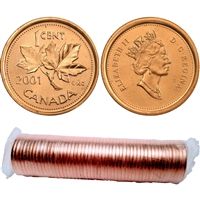2001 No P Canada 1-Cent Original Roll of 50pcs.
