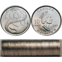 2001-P Volunteer Canada 10-Cent Roll of 50pcs.