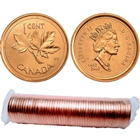 2002 No P Canada 1-cent Original Roll of 50pcs.