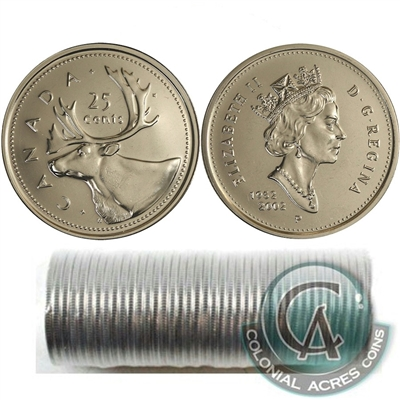 2002-P Canada 25-cent Caribou Original Roll of 40pcs.