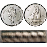 2003-P Canada Old Effigy 10-cent Original Roll of 50pcs