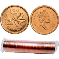 2003 No P Canada Old Effigy 1-cent Original Roll for 50 pcs