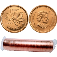 2003 No P New Effigy Canada 1-Cent Original Roll of 50 pcs (some are double headed on ends of roll)